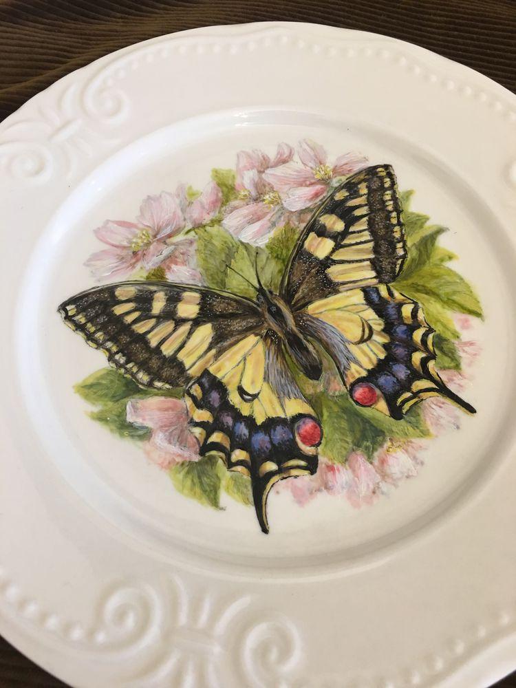 роспись фарфора, мк по декупажу, мастер класс роспись, бабочки