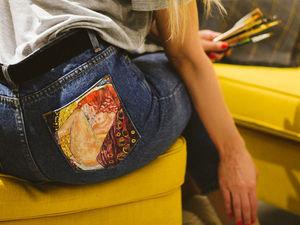Моя Даная. Джинсы с росписью с любимым Климтом. Ярмарка Мастеров - ручная работа, handmade.