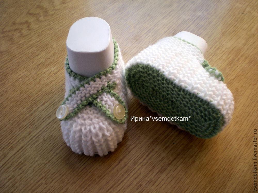 Вяжем своими руками пинетки-туфельки с ремешками на пуговках, фото № 9