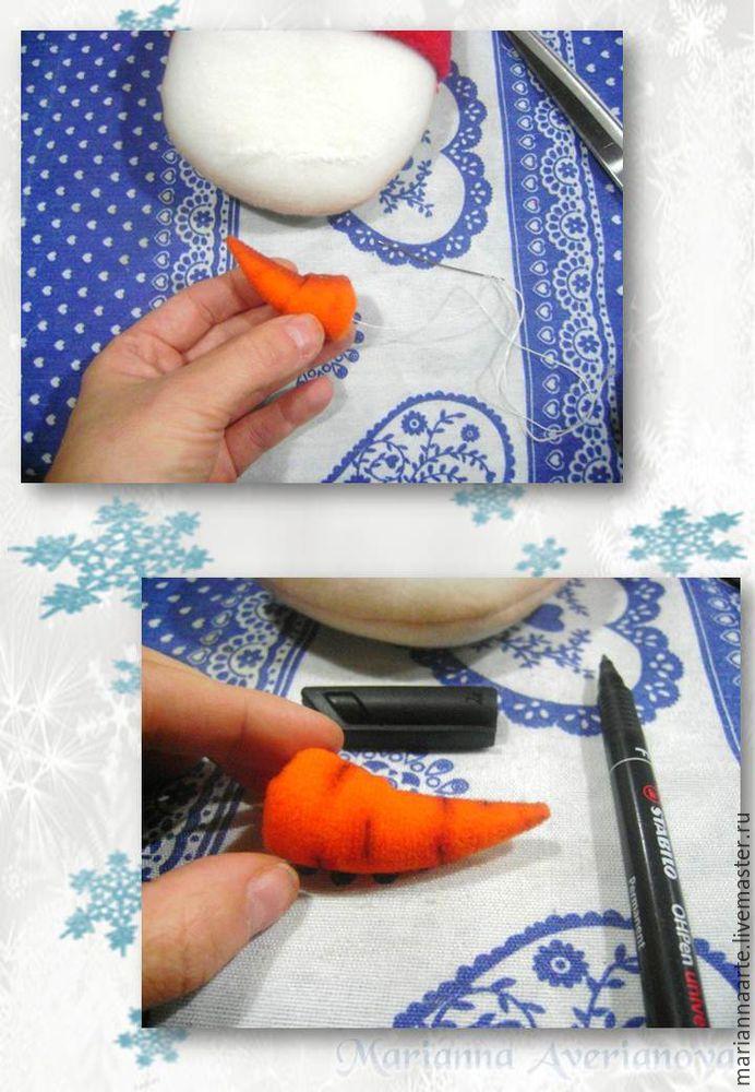 Мастер-класс по созданию забавной новогодней игрушки «Снеговичок-тюфячок», фото № 15