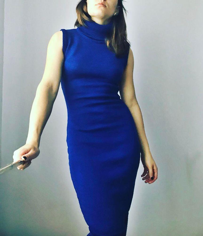 купить платье, модное платье, мериносовое, синее, электрик