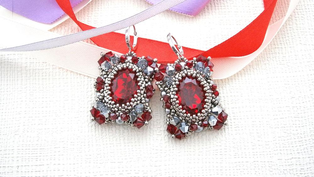украшения, украшения из бисера, бисер, серьги, серьги из бисера, подарок, новинка, jewelry, jewellery, earrings, designer jewelry, pret-a-portet, podium, handmade, handmade jewelry, perla, red