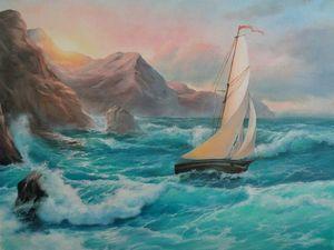 """Процесс работы над картиной """"Море. Парусник."""". Ярмарка Мастеров - ручная работа, handmade."""
