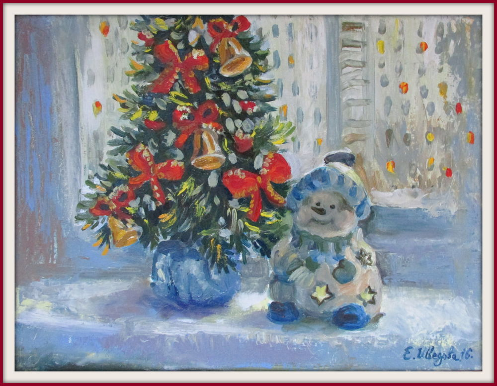 картина маслом, купить картину недорого, купить картину в подарок, зима, новогодняя елка