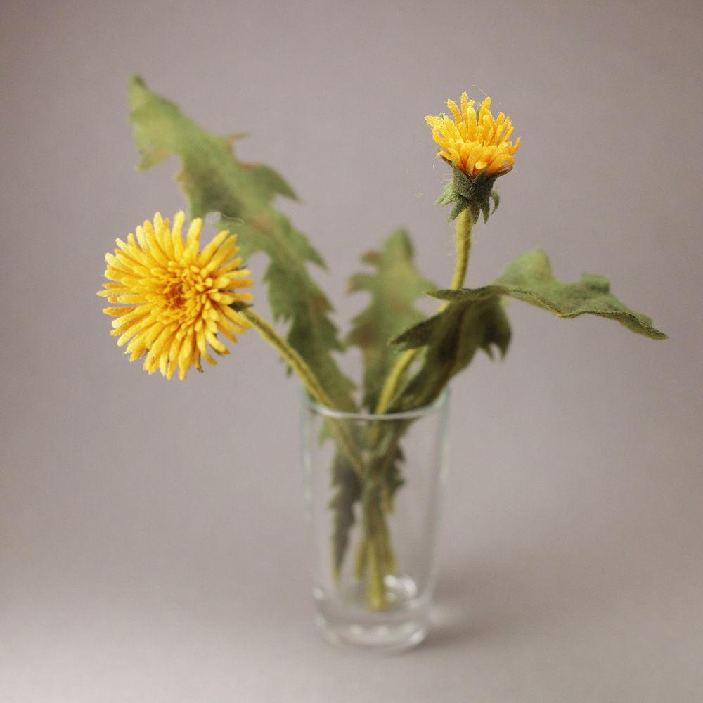 ацикулярис, сухое валяние, spot, одуванчики, цветы из шерсти, мастер-класс