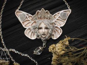 Новинка!!!   Butterfly white. Кулон из полимерной глины. готовая работа.. Ярмарка Мастеров - ручная работа, handmade.