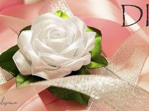 Делаем пышную розу из атласной ленты. Ярмарка Мастеров - ручная работа, handmade.
