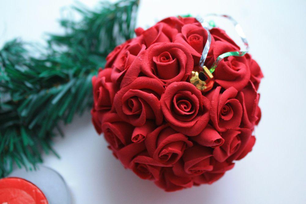 шарик, елочная игрушка, цветы ручной работы