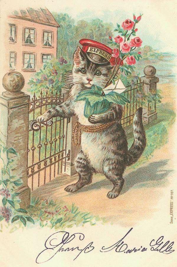 Старинные открытки с кошкам, днем рождения