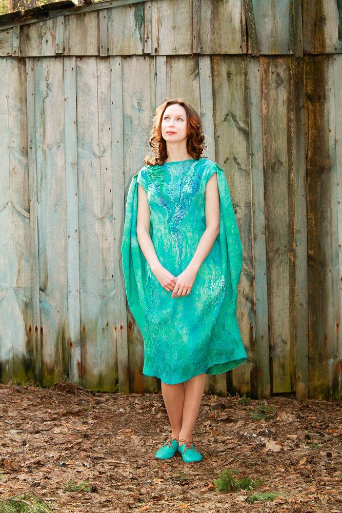 нуновойлок, платье двустороннее, войлочная одежда