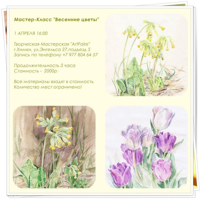 весенние цветы, весна, первоцветы, цветы акварелью, акварель