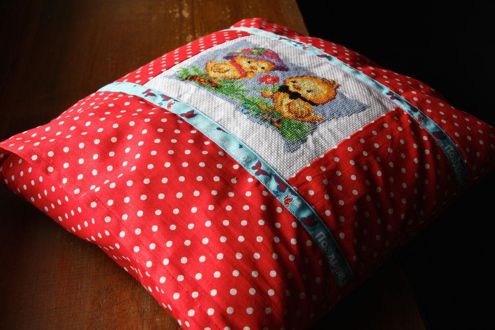 вышивка крестом, для детей, подушечка