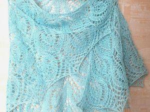 Вязание спицами. Ажурная льняная шаль. Часть 3.. Ярмарка Мастеров - ручная работа, handmade.
