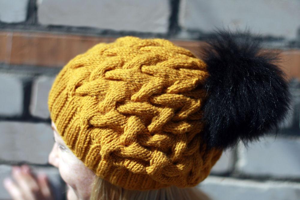 шапка косами, шерстяная пряжа