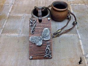 Фактурный кулон с бабочкой из полимерной глины. Ярмарка Мастеров - ручная работа, handmade.