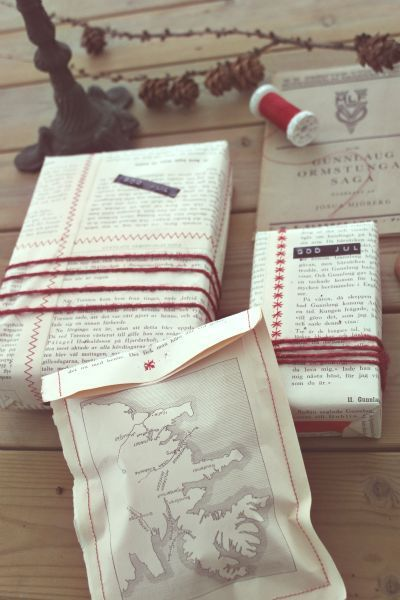 old book pages as wrapping paper, #DIY love this.