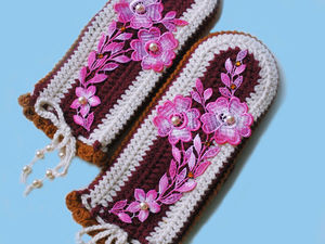 Аукцион с нуля на варежки с вышивкой.. Ярмарка Мастеров - ручная работа, handmade.