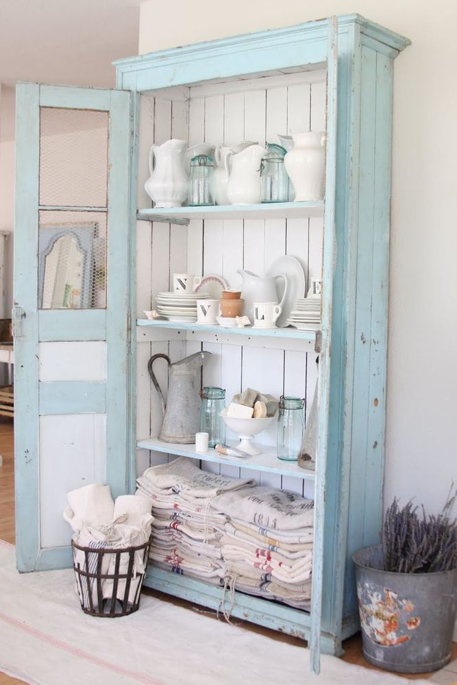 Gorgeous blue cupboard from Dreamy Whites blog