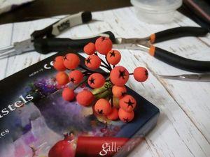 Делаем веточку рябины из самозатвердевающего пластилина. Ярмарка Мастеров - ручная работа, handmade.