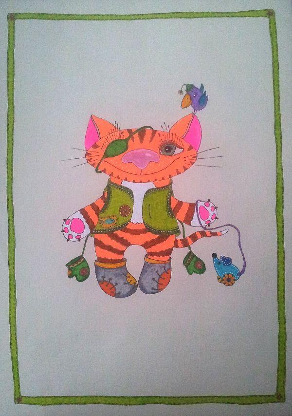 зима, гелевые ручки, ангел, варежки, котик, рисунок в детскую