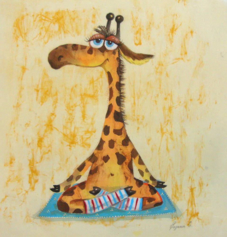 жираф, йог, йога, батик, панно, картина