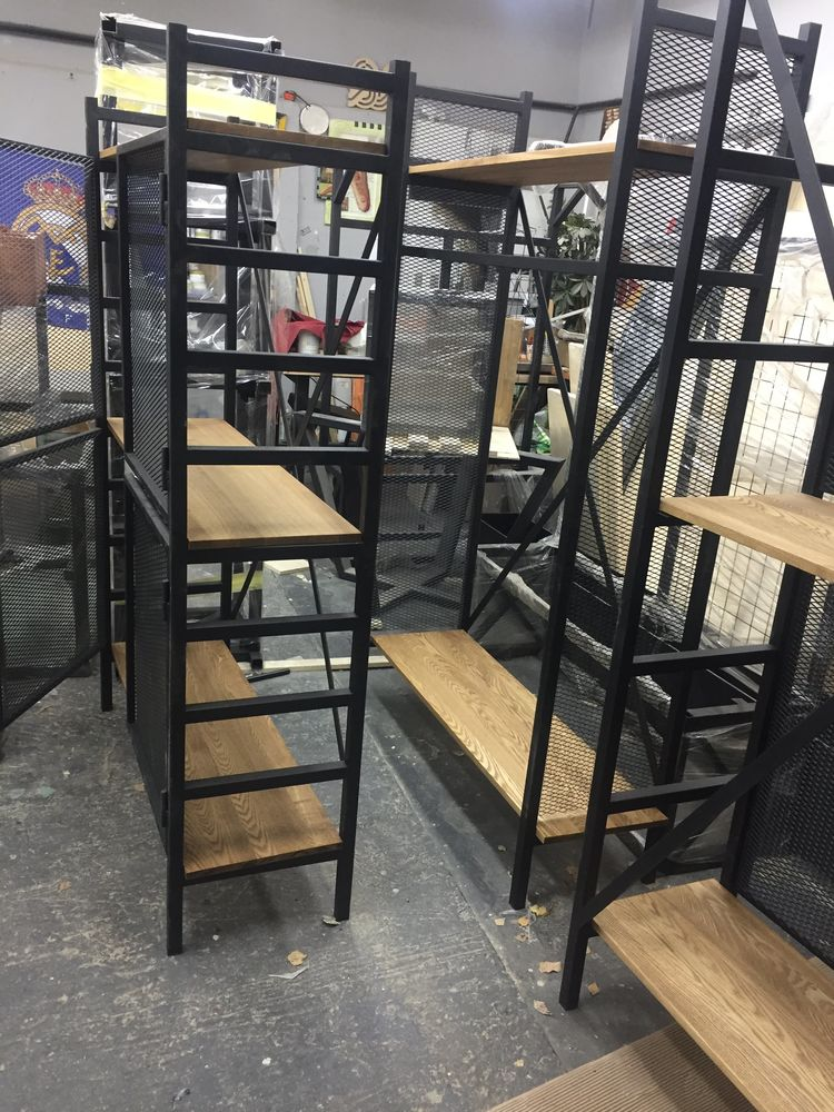 стиль лофт, стеллажи, стеллаж в стиле лофт, стеллаж из ясеня, металлическая мебель, мебель в стиле лофт, шкафы, шкаф из металла, мебель для магазина, индустриальный стиль