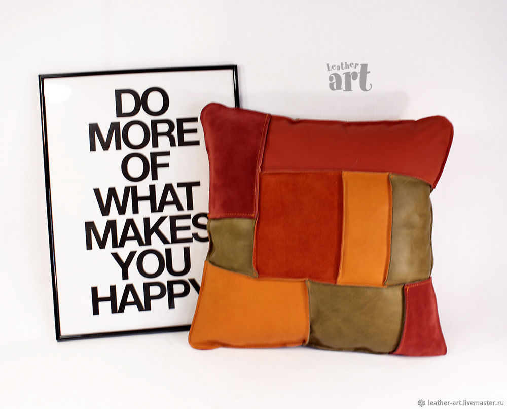 кожаные подушки, стиль бохо