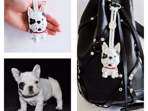 Брелок из кожи собака французский бульдог.. Ярмарка Мастеров - ручная работа, handmade.