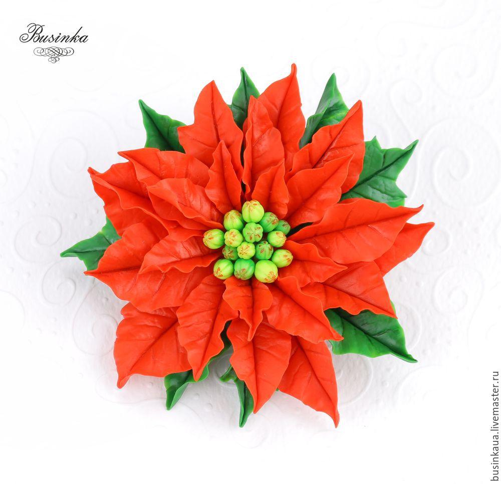 пуансеттия, как сделать пуансеттию, пуансеттия мк хф, сборка броши из цветов, рождественский подарок, красная пуансеттия цветок, пуансеттия фарфор лепка