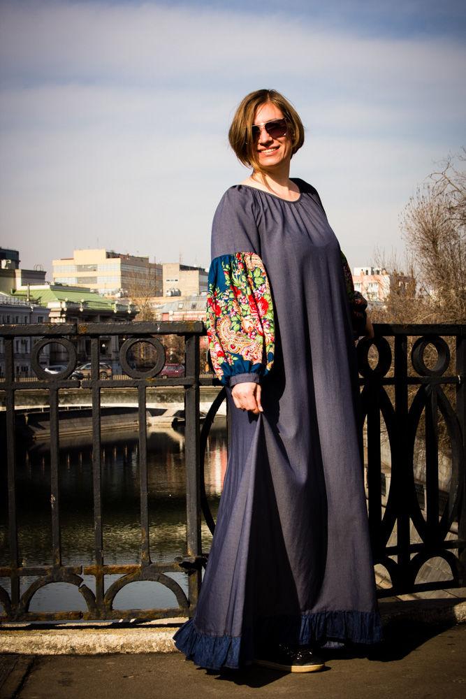 одежда больших размеров, бохо стиль, бохо шик, бохо платье, длинное платье, павловопосадский платок, русский стиль