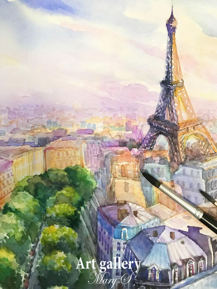 париж, парижская улочка, картина акварелью, акварельная картина, картина париж, купить картину в спб, купить картину акварелью, картина акварелью париж, магазин картин, открытка акварелью, франция, парижский, эйфелева башня, сиреневый, фиолетовый, синий, зеленый, спб, artgallerymarys