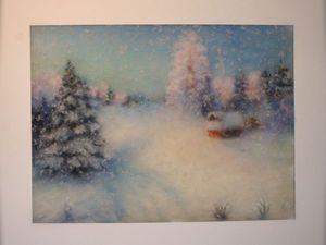 Мк  шерстяная акварель- Зимний пейзаж. | Ярмарка Мастеров - ручная работа, handmade