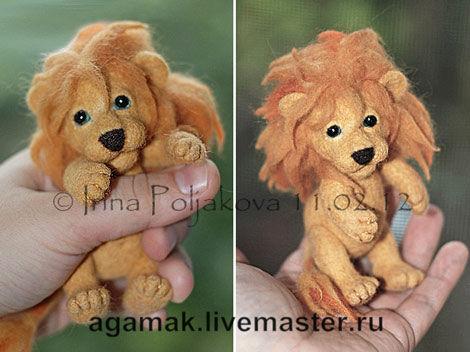 agamak, живые игрушки, валяние, мастер-класс, обучение, львенок, войлок, лев, игрушки, шерсть, скульптура