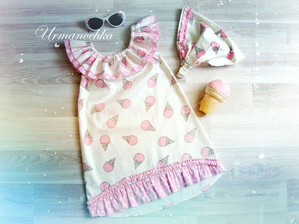Шьем яркое летнее платье для девочки «Клубничное мороженое» | Ярмарка Мастеров - ручная работа, handmade