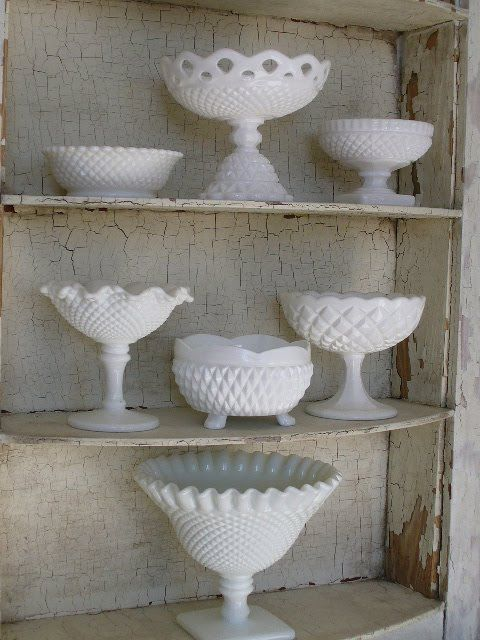 I have a few milk glass pedestals in my collection, these are great for flower arrangements, potted plants, various holidays