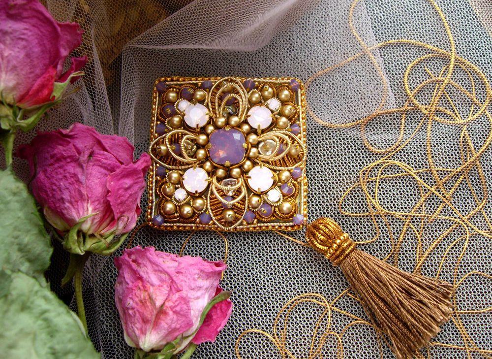 брошь, золотое шитьё, подарок девушке, бархат, мастер-класс по бижутерии