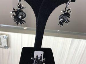 Аукцион с нуля на Серебряный Комплект кольцо и серьги 925 пробы Черная Жемчужина. Ярмарка Мастеров - ручная работа, handmade.