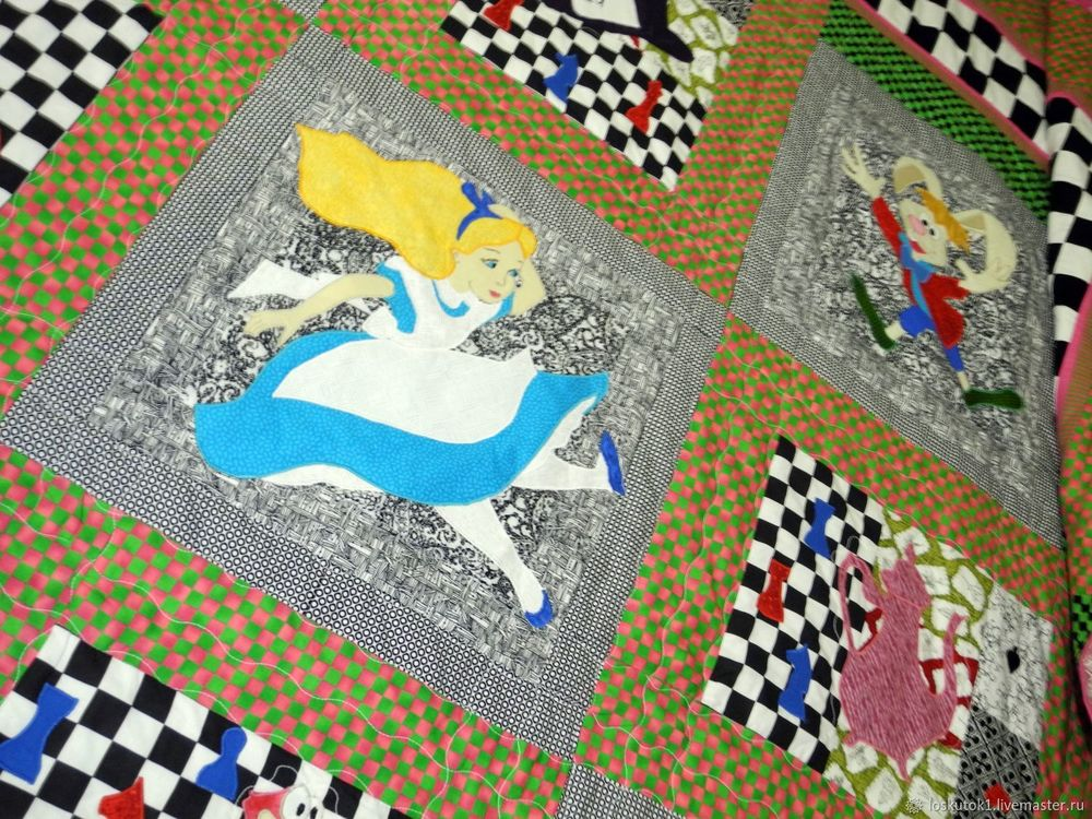 чеширский кот, одеяло пэчворк, плед детский