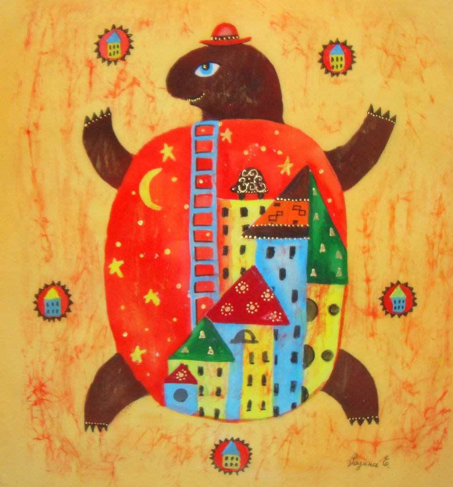 картина, батик, панно, ярко, интерьер, черепаха, елена разина