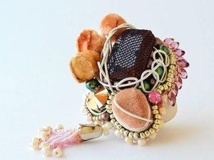 """Брошь """"Японский сад"""".Вышивка бисером. Ярмарка Мастеров - ручная работа, handmade."""