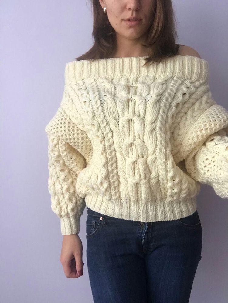 вязаный свитер, рубан, свитер косами, молочный, нежный