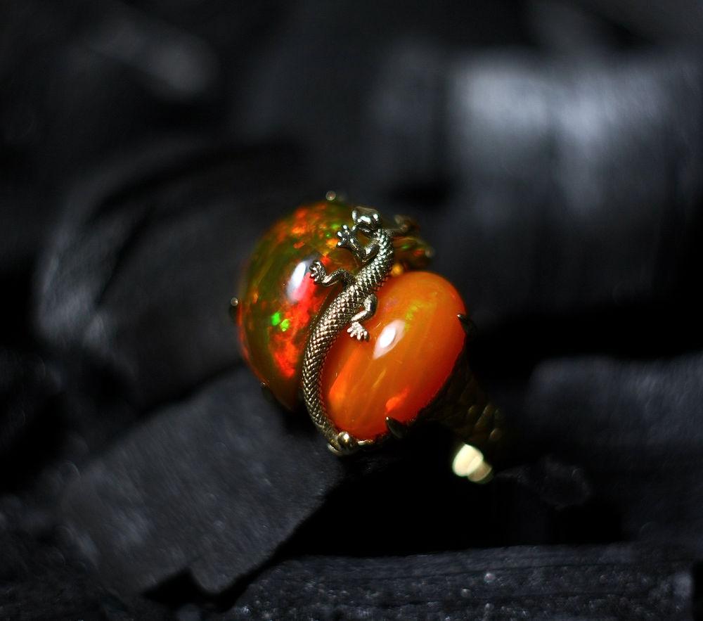 саламандра, кольцо, кольцо с опалом, кольцо с ящерицей, огненный опал