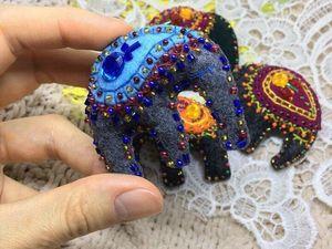В магазинчике появились новые броши - Индийские Слоны.. Ярмарка Мастеров - ручная работа, handmade.