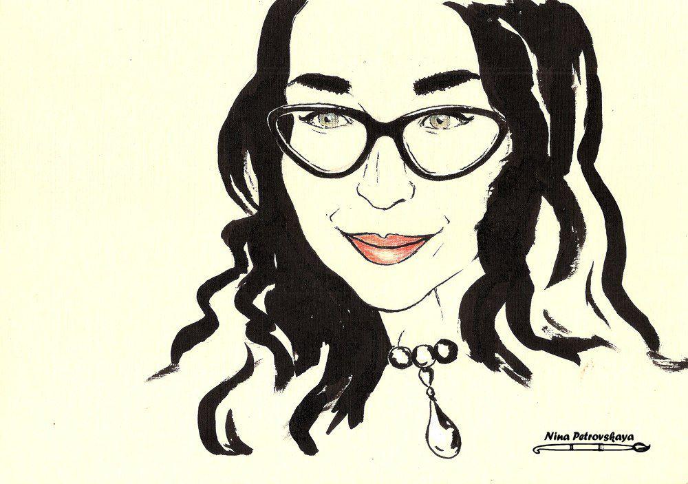 портрет по фото, рисунок тушью, акварель