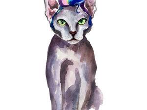 Рисуем акварелью зеленоглазого кота с прической Элвиса Пресли. Ярмарка Мастеров - ручная работа, handmade.