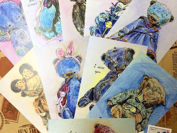 Открытки с мишками Teddy Paradise | Ярмарка Мастеров - ручная работа, handmade
