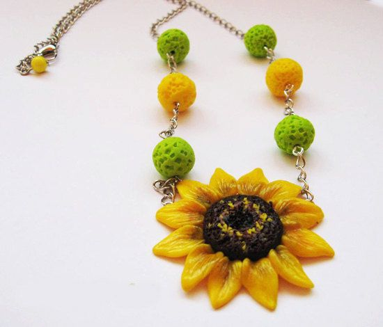 Yellow+necklace++Sunflower+Necklace++Flower+jewelry+by+EufloriaArt,+$20.00