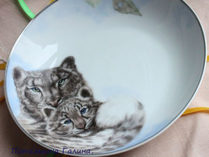 Снежные барсы. Роспись тарелки. Ярмарка Мастеров - ручная работа, handmade.