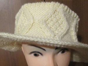 Шляпка вязаная  «Ромбы». Ярмарка Мастеров - ручная работа, handmade.