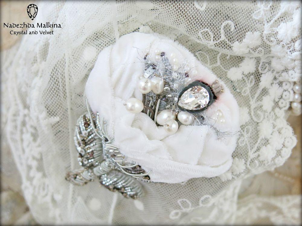 текстильные украшения, свадебная заколка, кутюрная вышивка